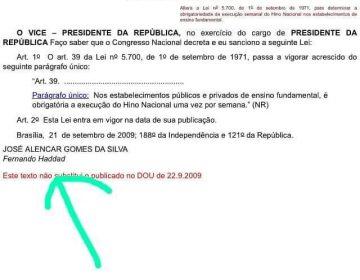 Hino Nacional nas escolas vem do Governo Lula